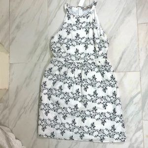 LOFT White Dress With Black Embroidered Flowers